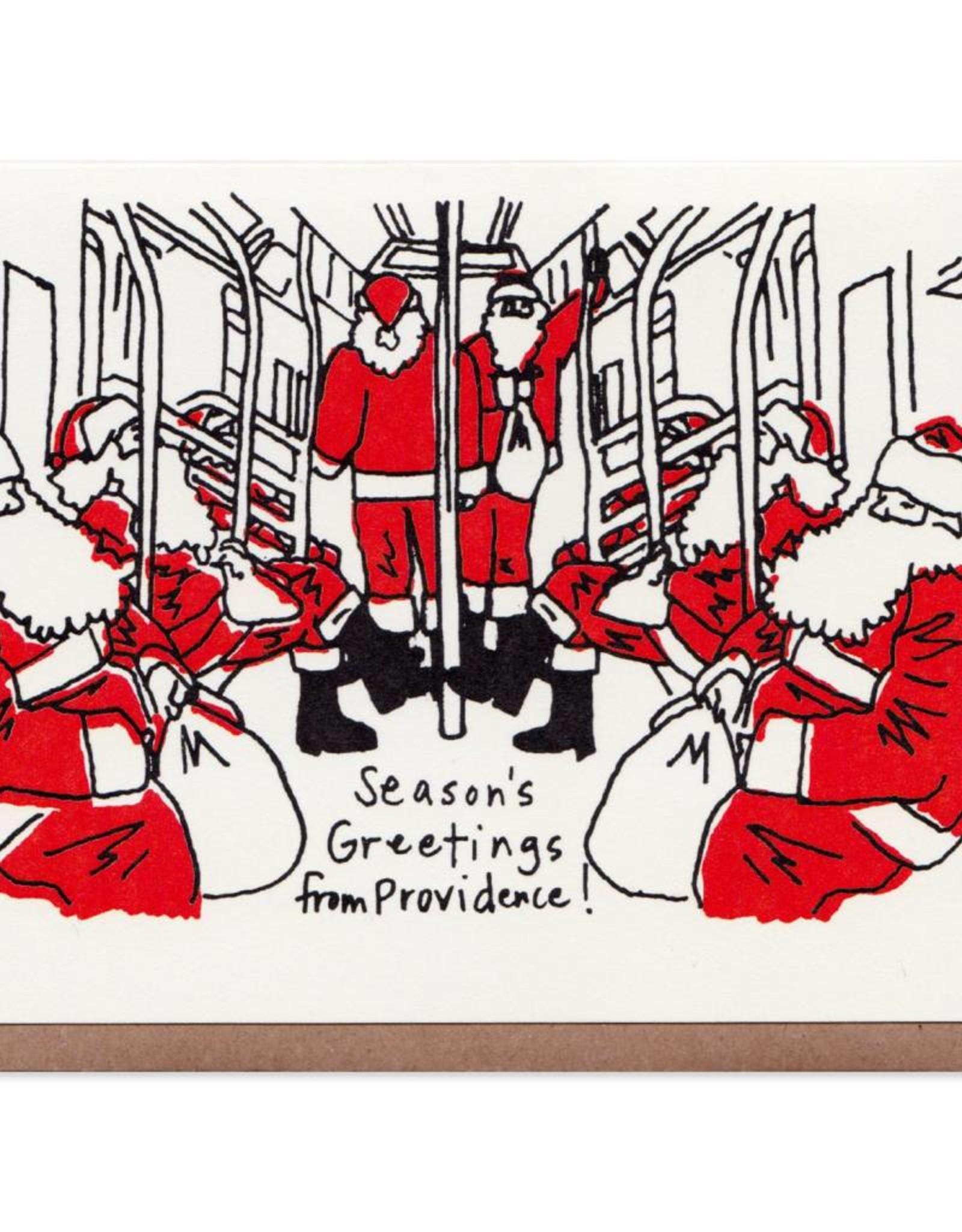 Commuting Santas PVD Greeting Card