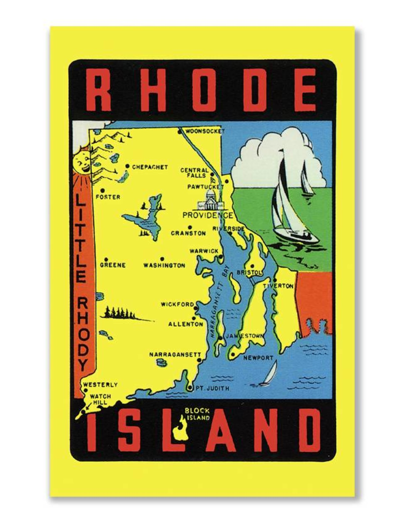 Rhode Island Map Greeting Card
