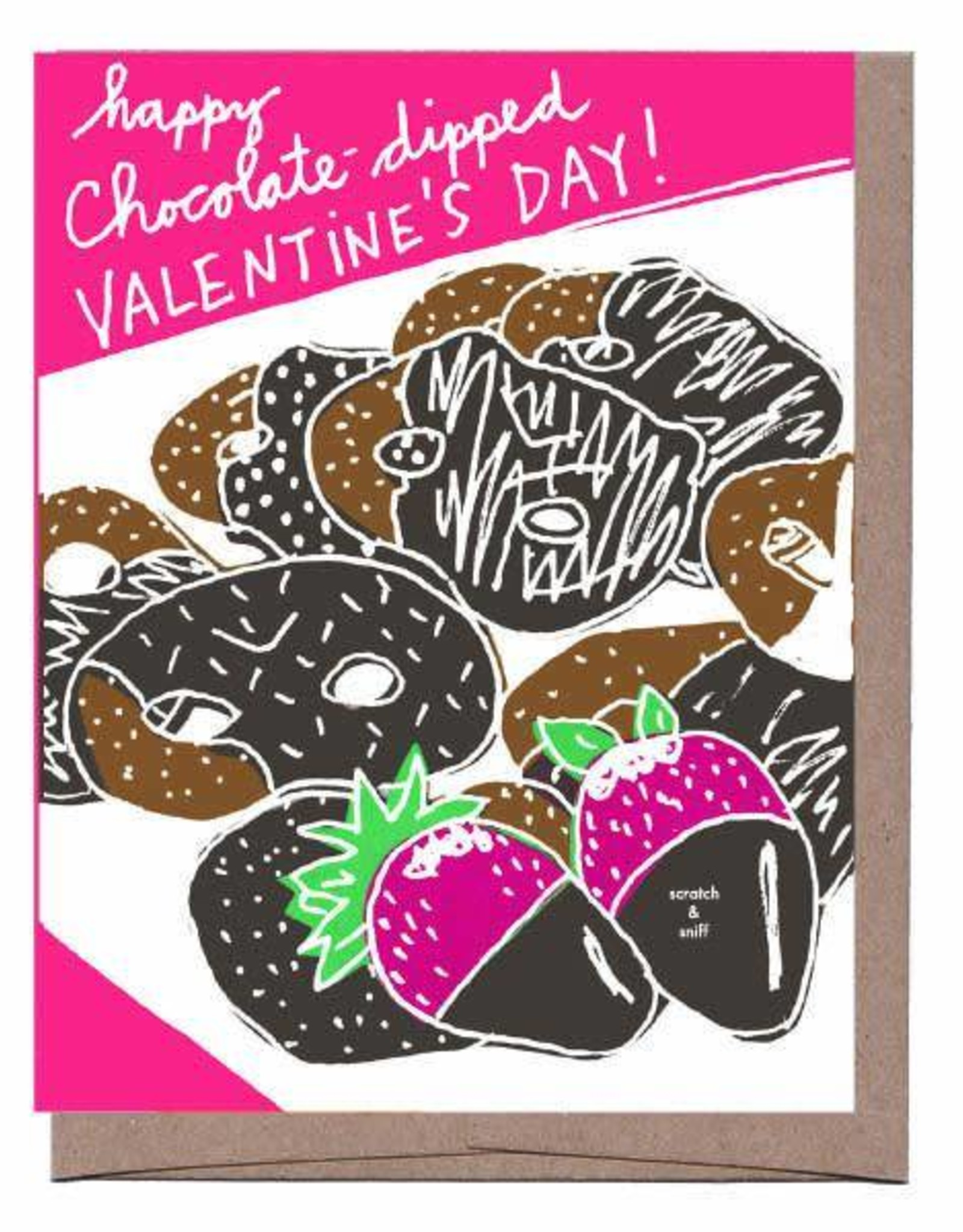 La Familia Green Scratch n Sniff Chocolate Dipped Valentine's Greeting Card