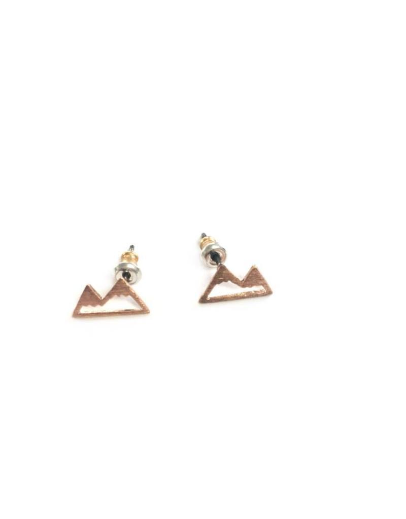 Adorn512 Mountain Stud Earrings, Rose Gold