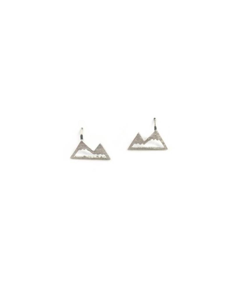 Adorn512 Mountain Stud Earrings, Silver