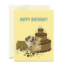 Yeppie Paper Birthday Cake Bulldog Greeting Card
