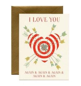 Yeppie Paper I Love You Again & Again Cupids Arrow Greeting Card