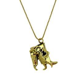 Rhino Skull Necklace - Brass
