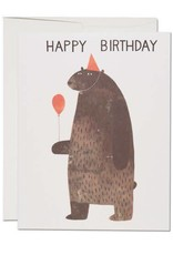 Red Cap Cards Happy Birthday Party Bear Greeting Card