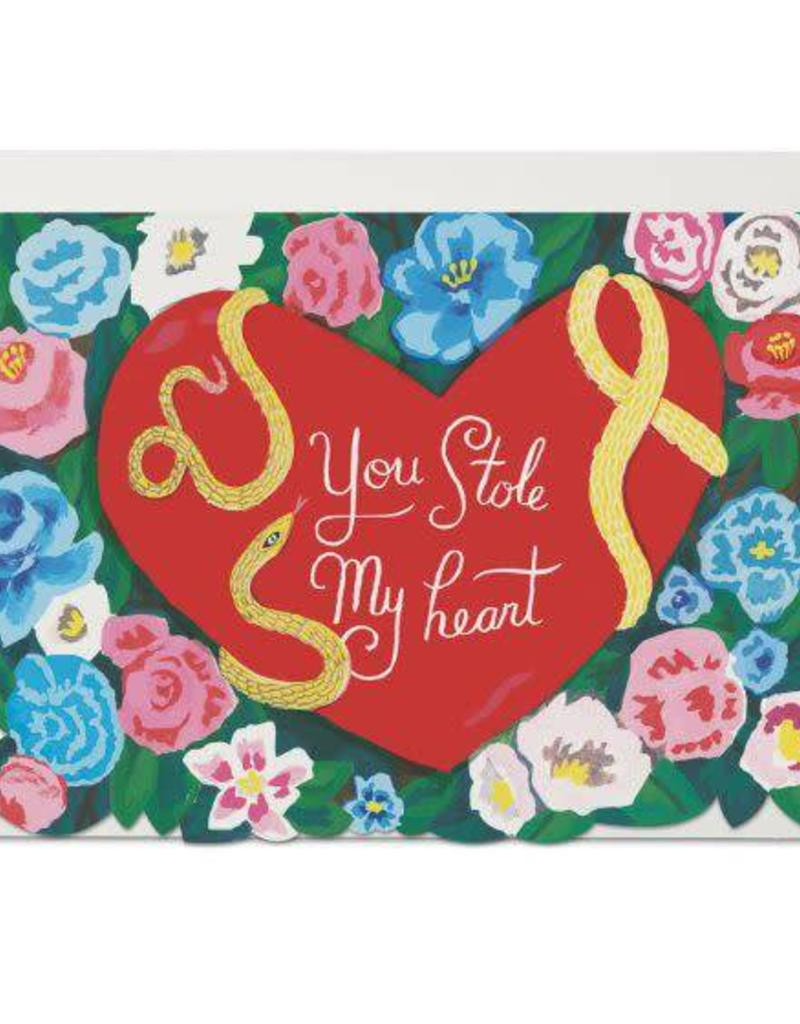 Red Cap Cards You Stole My Heart Snake Greeting Card
