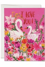 Red Cap Cards I Love You Swans Greeting Card