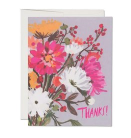 Red Cap Cards Thanks Vintage Bouquet Greeting Card