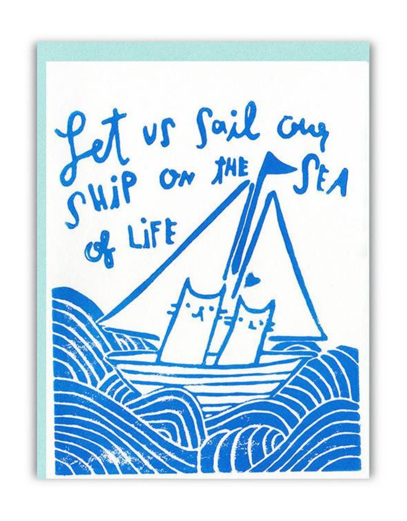 Ghost Academy Let Us Sail Our Ship On The Sea Of Love Greeting Card