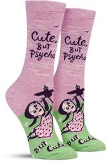 Blue Q Cute, But Psycho Women's Crew Socks
