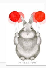 Happy Birthday Bunny with Balloons Greeting Card