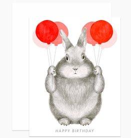 Dear Hancock Happy Birthday Bunny with Balloons Greeting Card