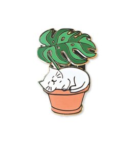 Towne 9 Leaf Me Be Cat Enamel Pin