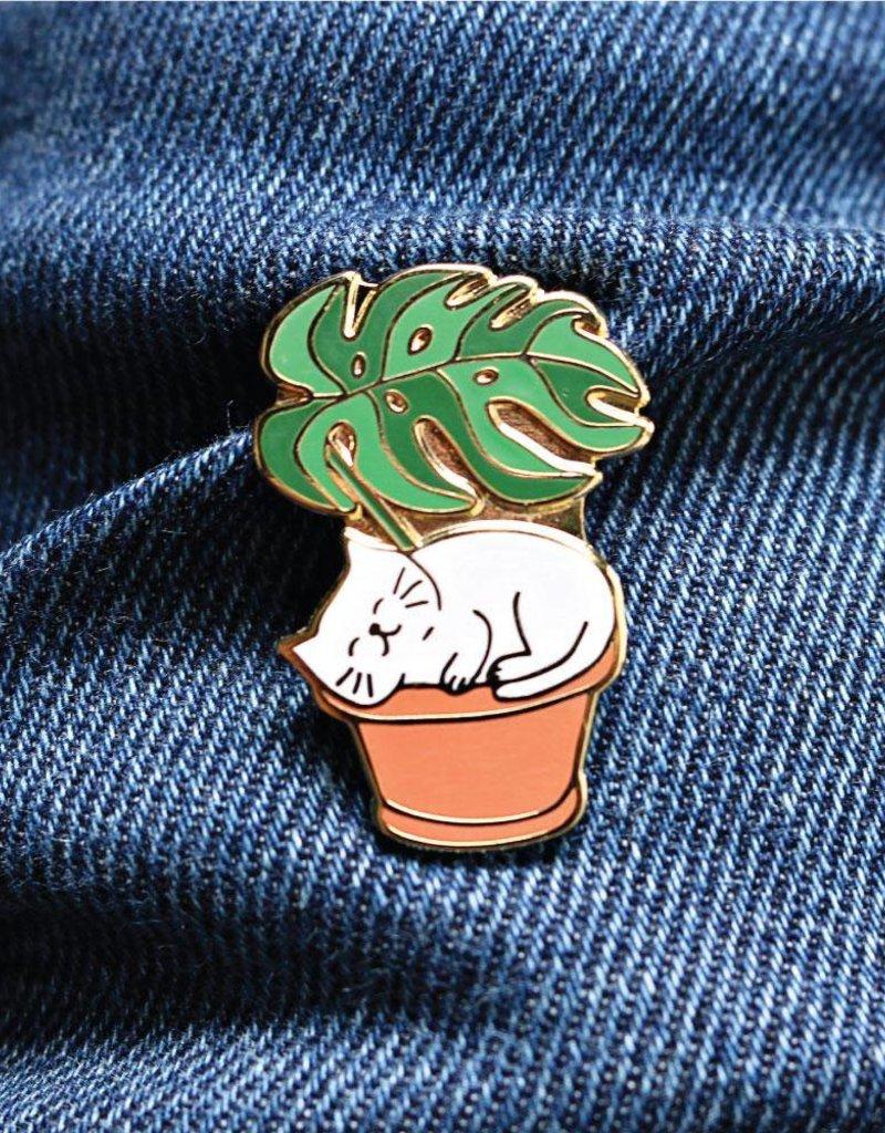 Towne 9 Leaf Me Be Cat Enamel Pin