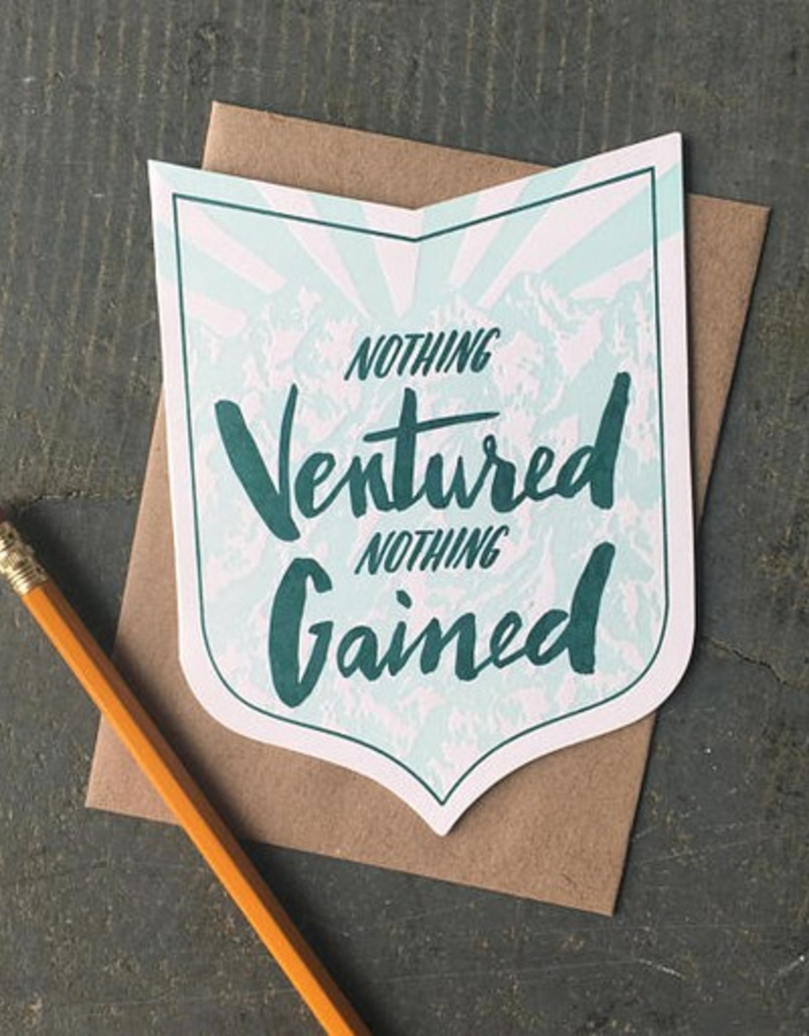 Nothing Ventured Nothing Gained (green) Greeting Card