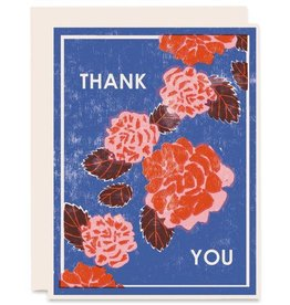 Thank You Red Peonies Greeting Card