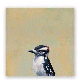 Mincing Mockingbird Wings on Wood - Downy Woodpecker