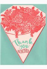 Blackbird Letterpress Thank You Bunches Bouquet Greeting Card
