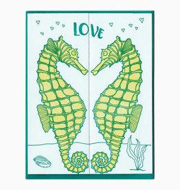 Blackbird Letterpress Love Seahorses Fold Out Greeting Card
