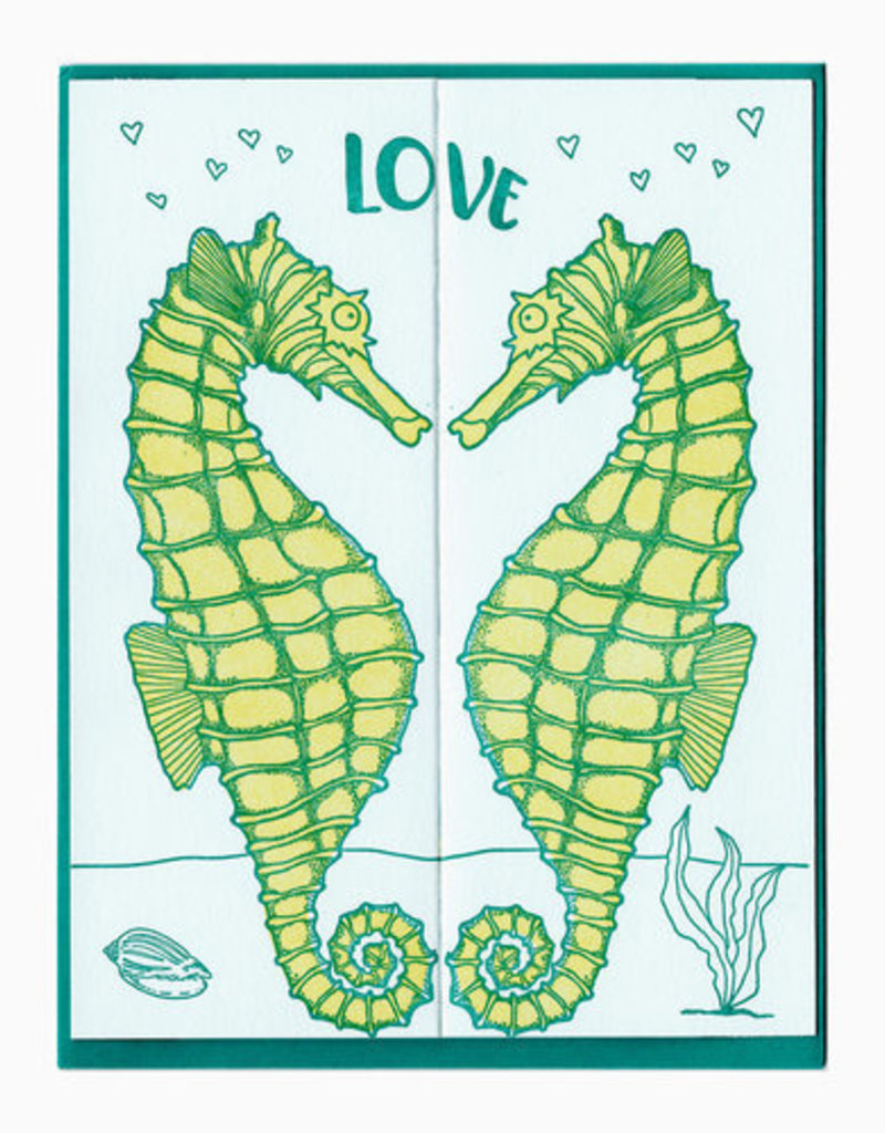 Blackbird Letterpress Love Seahorses Fold Out Greeting Card