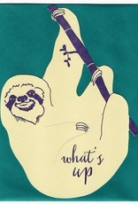 Blackbird Letterpress What's Up Hanging Sloth Greeting Card