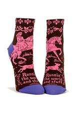 Blue Q Runnin' the World and Stuff Women's Ankle Socks