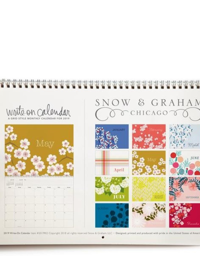 Snow & Graham 2019 Write-On Desk Calendar- Snow & Graham