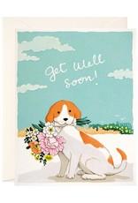 JooJoo Paper Get Well Soon Dog & Flowers Greeting Card