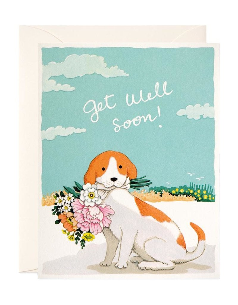 JooJoo Paper Get Well Soon Dog \u0026 Flowers Greeting Card