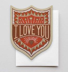 I Love you Badge Greeting Card