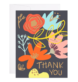 9th Letter Press Thank You Floral Greeting Card