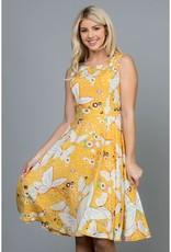 Butterfly Print Midi Dress