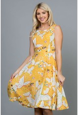 LA Soul Butterfly Print Dress with Tie