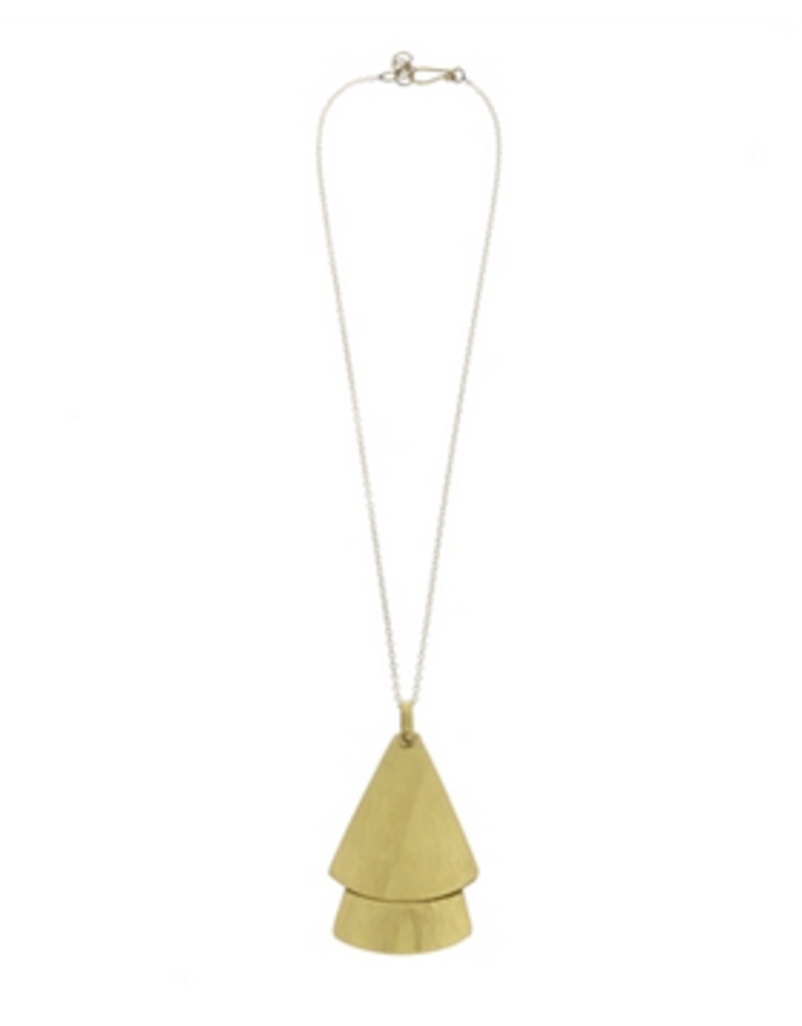 Double Gingko Brass Necklace