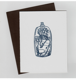 Spofford Press Ship In A Bottle Greeting Card