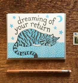 Dreaming of Your Return Cat Greeting Card