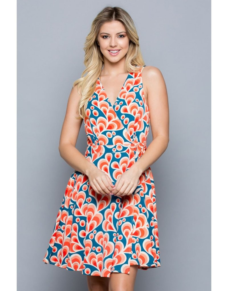 LA Soul Retro Floral Wrap Dress