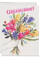Red Cap Cards Congratulations Hand Bouquet Greeting Card