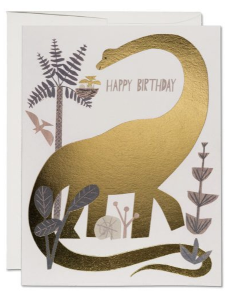 Red Cap Cards Happy Birthday Gold Foil Dinosaur Greeting Card