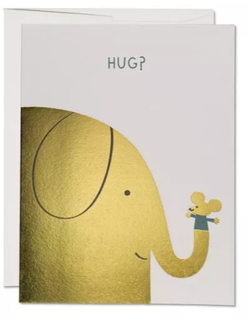 Red Cap Cards Hug? Gold Foil Elephant and Mouse Greeting Card