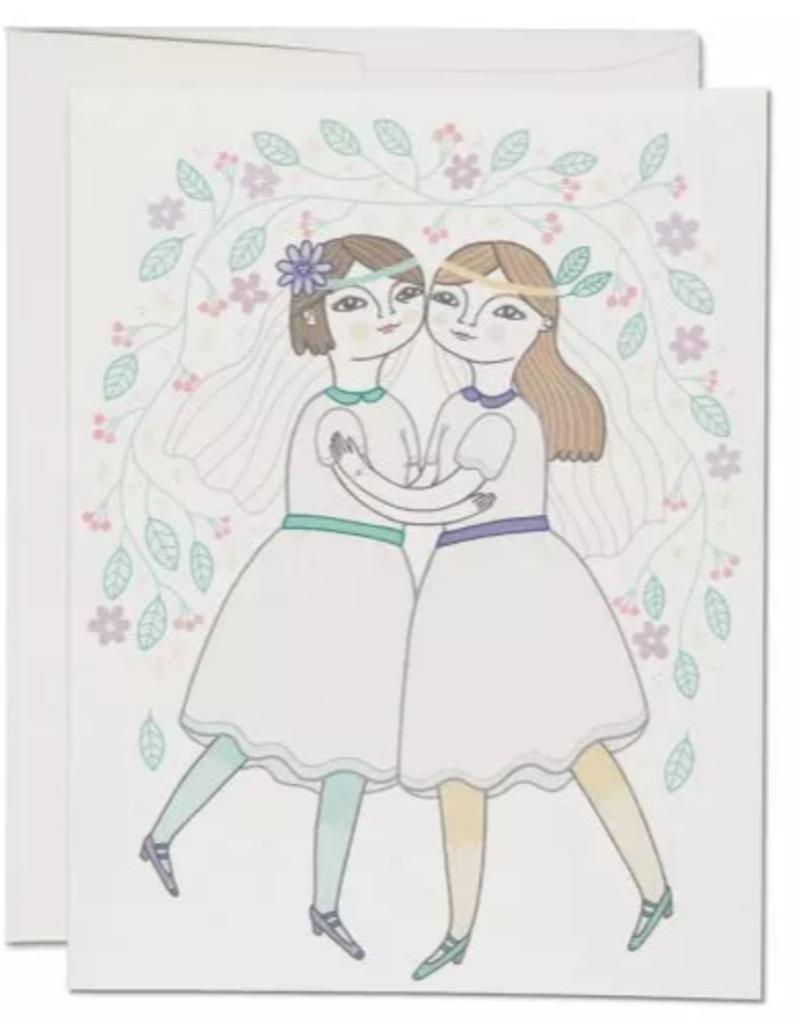 Red Cap Cards Girl Wedding Greeting Card