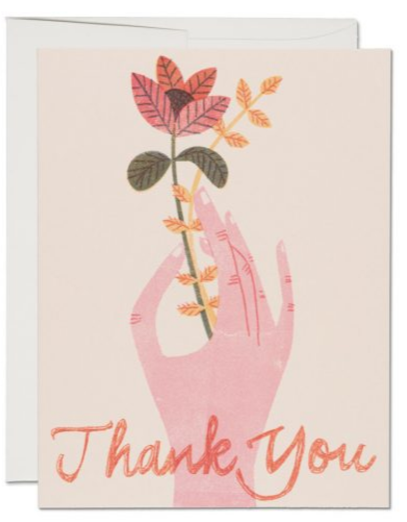 Red Cap Cards Thank You Hand & Flower Greeting Card