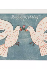 Red Cap Cards Happy Wedding Love Birds Greeting Card