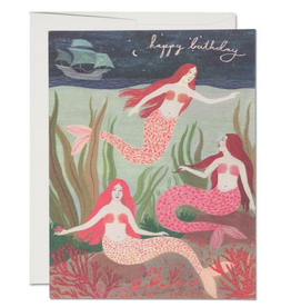 Red Cap Cards Happy Birthday Mermaids Greeting Card