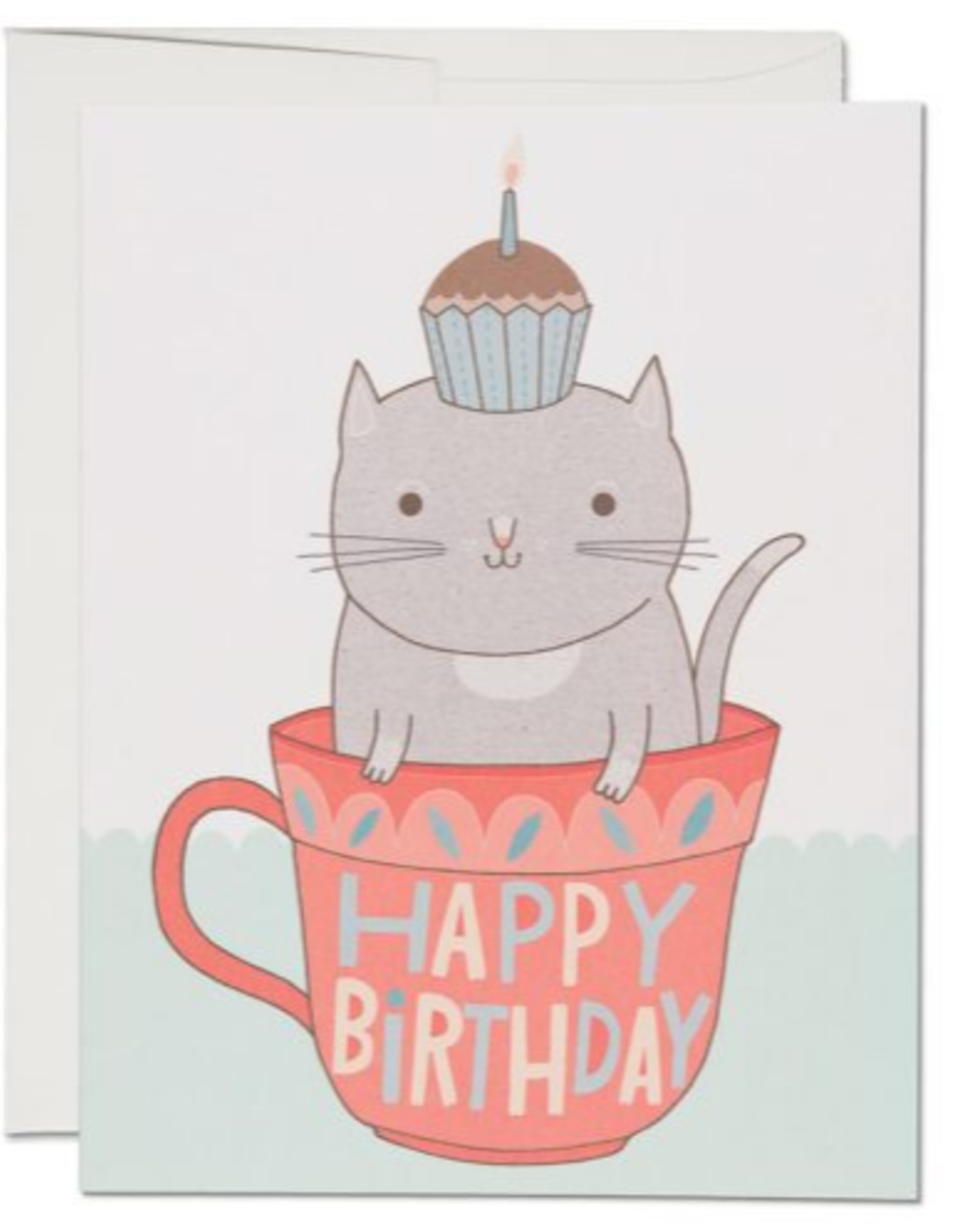 Happy Birthday Teacup Cat Greeting Card