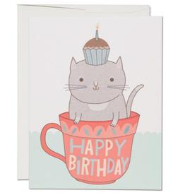 Happy Birthday Teacup Cat Greeting Card