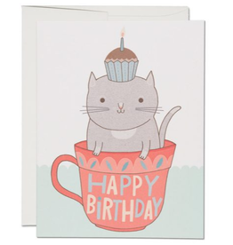 Red Cap Cards Happy Birthday Teacup Cat Greeting Card