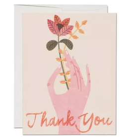 Red Cap Cards Thank You Hand & Flower Greeting Card Box Set of 8