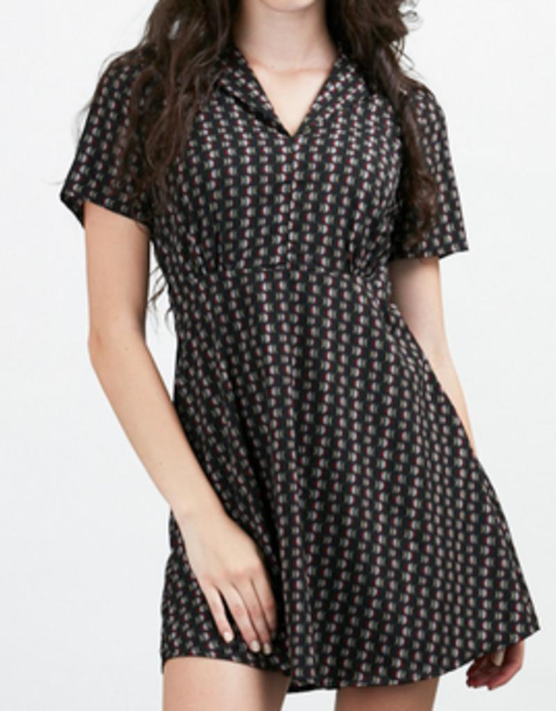 SM Wardrobe Collared Abstract Wave Print Dress
