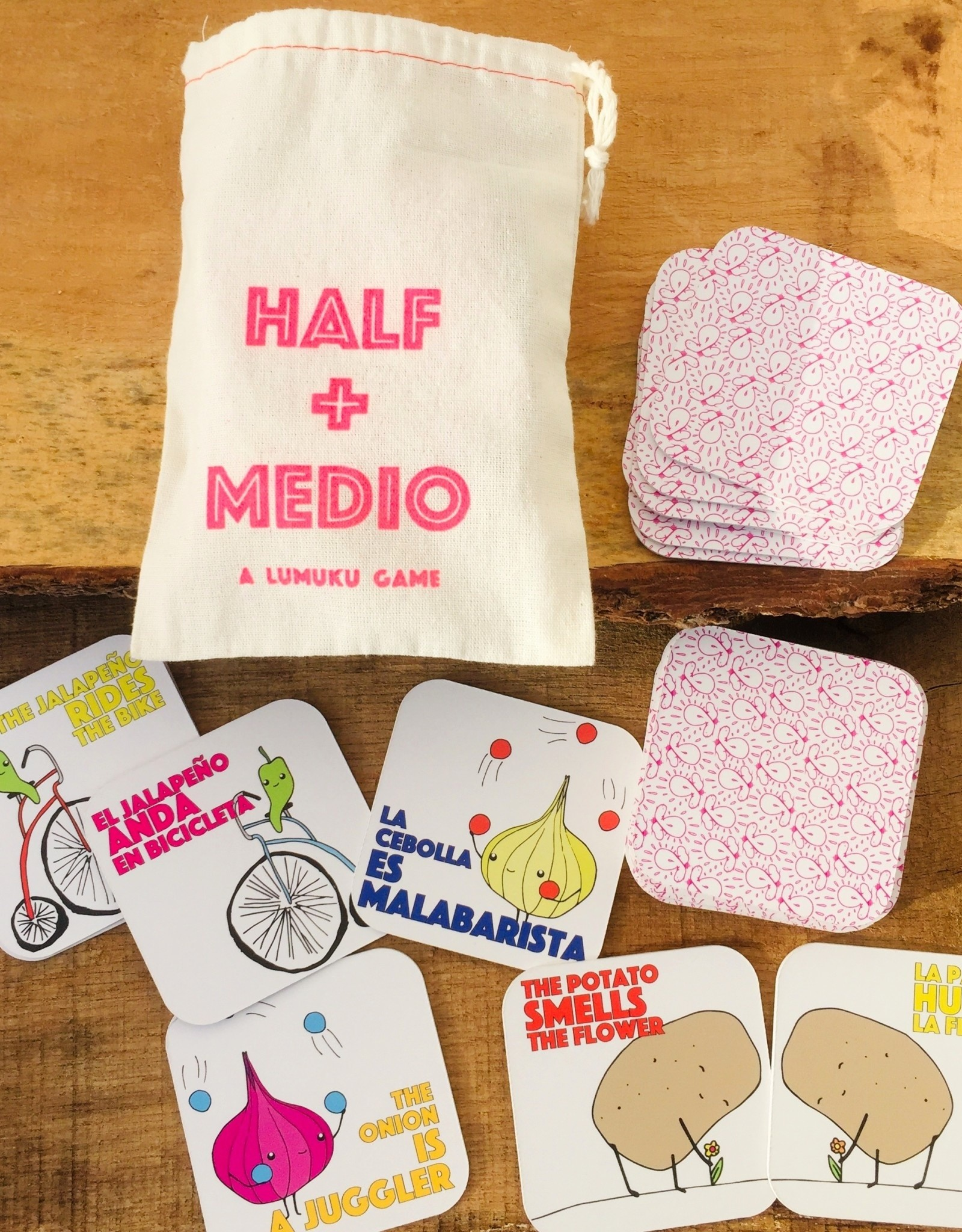 Half + Medio Bilingual Matching Game